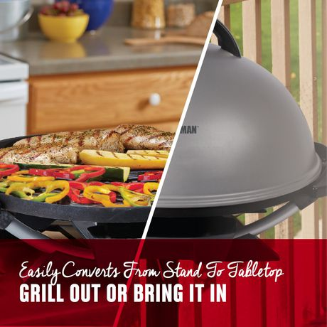 George Foreman Indoor and Outdoor Electric Grill with Stand and Thermostat, Grey - image 5 of 8