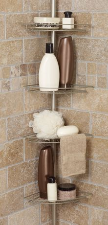 Hometrends Tub And Shower Tension Pole Caddy, 4 Shelf, Satin Nickel