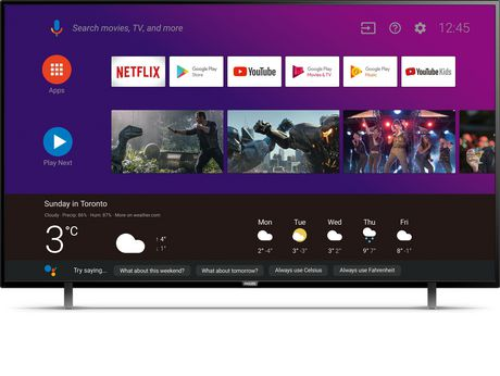 """Philips 65"""" 4K UHD HDR10 Android Smart TV with Google Assistant Built in, 65PFL5704/F7"""