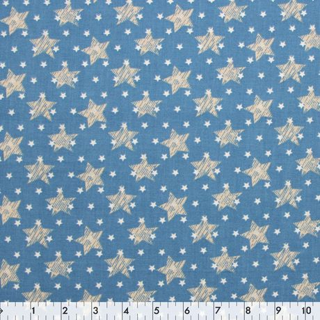 Fabric Creations Denim Blue Stars Cotton Fabric by the Metre - image 1 of 1