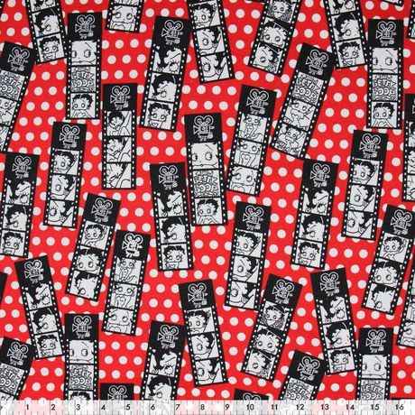 Fabric By The Metre - Fabric Creations Cotton Flannel - Red Betty Boop - image 1 of 1