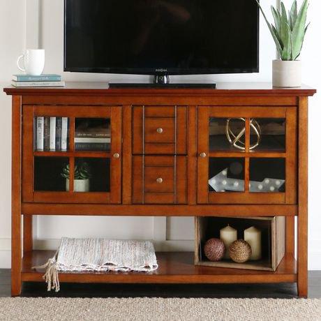 Table de buffet pour t l vision de walker edison en bois for Table de television en bois