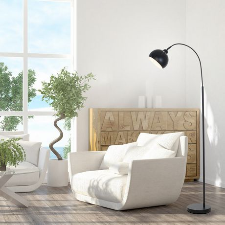 hometrends Black Arc Floor Lamp with Adjustable Shade And Chrome Accents - image 1 of 4
