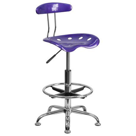 Tabouret de dessinateur en chrome et couleur violette vibrante avec siège tracteur - image 1 de 4