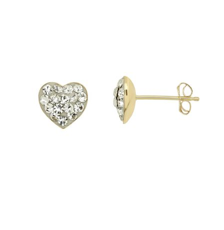 10K Yellow Gold Crystal Heart Earrings - image 1 of 1