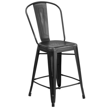 Brilliant 24 High Distressed Black Metal Indoor Outdoor Counter Height Stool With Back Machost Co Dining Chair Design Ideas Machostcouk