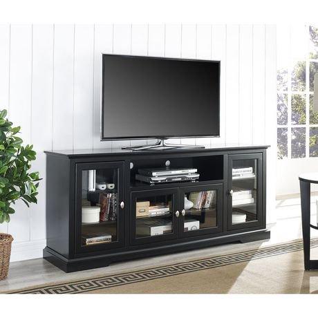 we furniture 70 black wood highboy tv stand walmart canada. Black Bedroom Furniture Sets. Home Design Ideas