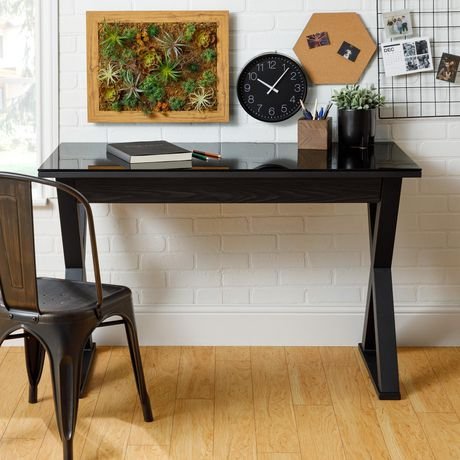 Bureau d'ordinateur en verre WE Furniture de 121, 90 cm  - noir - image 2 de 3