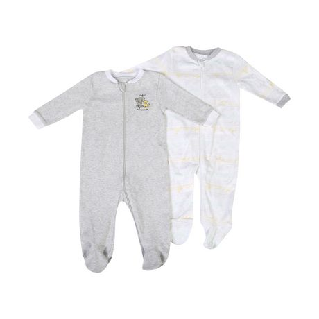 George baby Unisex Cotton Sleepers, 2-Pack - image 1 of 2