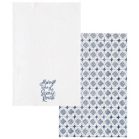 Hometrends 2-pack printed floursack towels - image 1 of 1