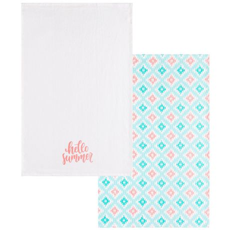 Hometrends 2-pack printed floursack towels - image 1 of 1