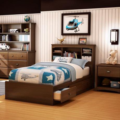 south shore t te de lit biblioth que une place collection logan finition cerisier somptueux. Black Bedroom Furniture Sets. Home Design Ideas