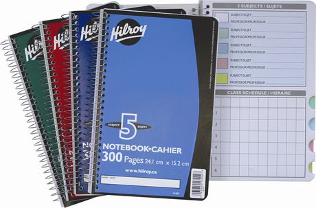 Hilroy Notebook, 5 Subject, 9-½ X 6, 300 Page, Assorted Colours - image 2 of 2
