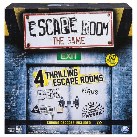 Box showing an escape room game with four adventures on the front