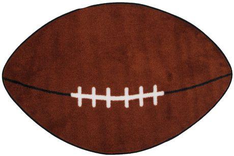 Fun Rugs Fun Time Shape Rectangle Brown And White Football Nylon Kids Rug - image 1 of 2