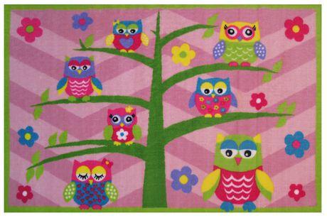 Fun Rugs Rectangle Multi-Colored Whoo! Whoo! Nylon Kids Rug - image 1 of 1