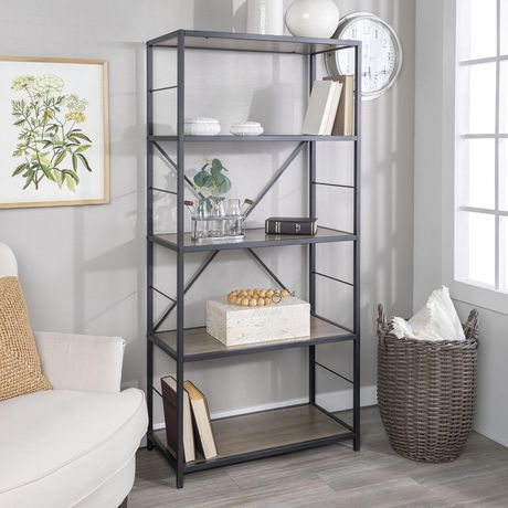 Walker Edison 60 Driftwood Rustic Metal And Wood Media Bookshelf