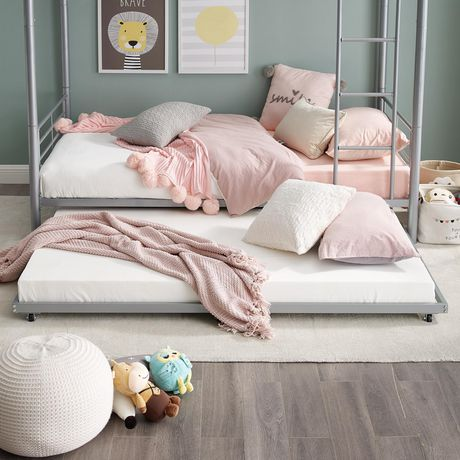 Walker Edison Twin Roll-Out Silver Trundle Bed Frame | Walmart Canada