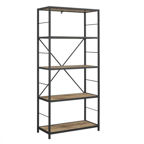 Walker Edison 60 Barnwood Rustic Metal And Wood Media Bookshelf