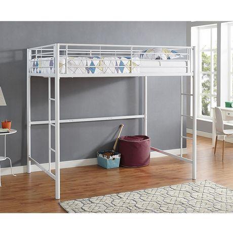 Walker Edison Premium Metal Full Size Loft Bed Silver White Or