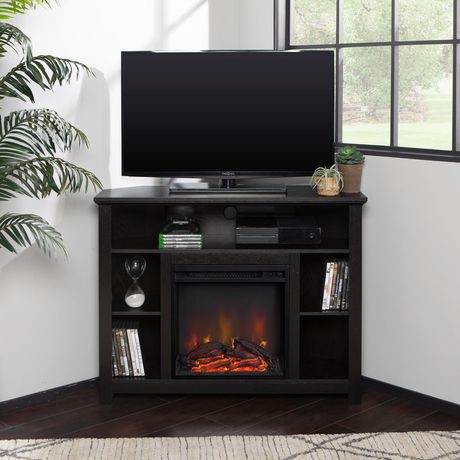 44 Quot Black Wood Corner Highboy Fireplace Tv Stand Walmart
