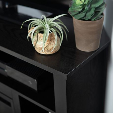 meuble tv chemin e commode mont e d angle en bois noir de 111 cm 44 po walmart canada. Black Bedroom Furniture Sets. Home Design Ideas
