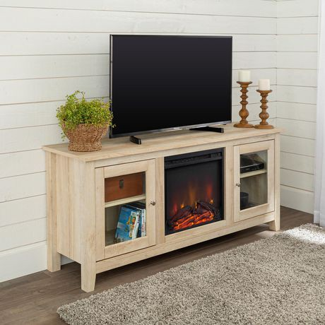 58 Quot Wood White Oak Media Tv Stand Console With Fireplace