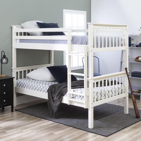 Twin Over Solid Wood White Mission Design Bunk Bed