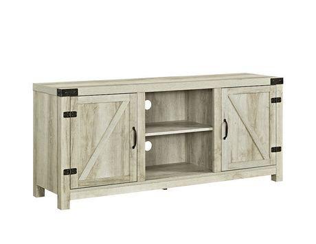 58 white oak barn door tv stand with side doors walmart canada. Black Bedroom Furniture Sets. Home Design Ideas