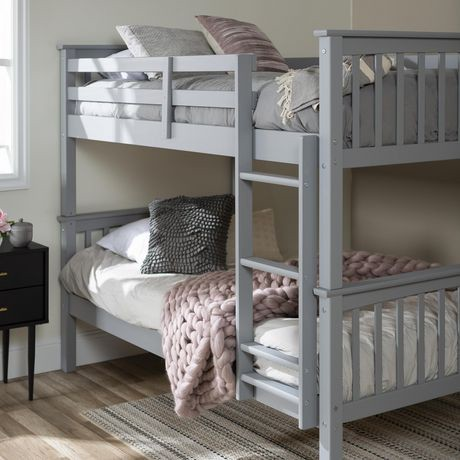 lits simples jumeaux superpos s design mission gris en bois massif walmart canada. Black Bedroom Furniture Sets. Home Design Ideas