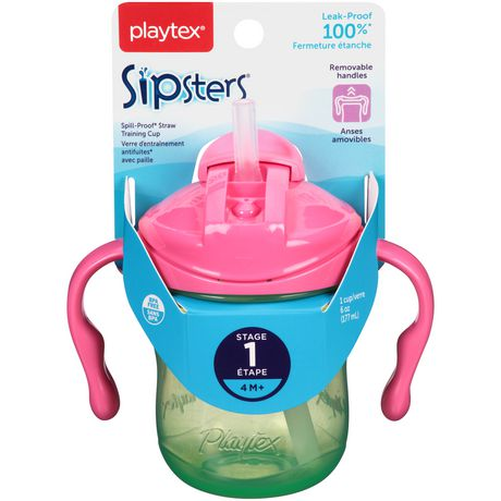 Playtex Baby Sipsters Spill-Proof Straw Training Cup with Removable Handles, Stage 1 (4+ Months), Pack of 1 Cup - image 4 of 8