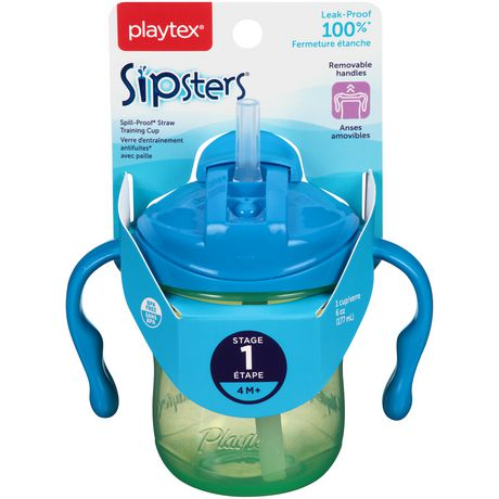 Playtex Baby Sipsters Spill-Proof Straw Training Cup with Removable Handles, Stage 1 (4+ Months), Pack of 1 Cup - image 3 of 8