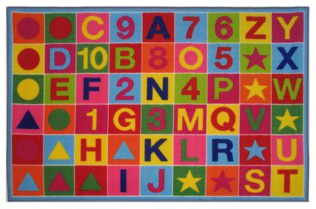 Tapis rectangle amusant pour enfant alphanumérique multicolore nylon - image 1 de 2