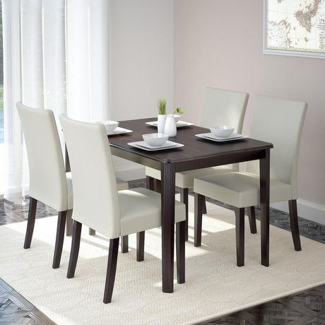 CorLiving Atwood 5-Piece Dining Set with Cream Leatherette Seats - image 2 of 8