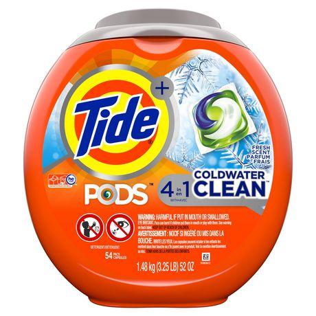Capsules de détergent à lessive liquide Tide PODS Propreté en eau froide, parfum frais - image 1 de 8