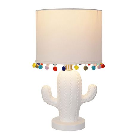 hometrends White Cactus Table Lamp with White Shade and Multi-Color Pompoms - image 1 of 2