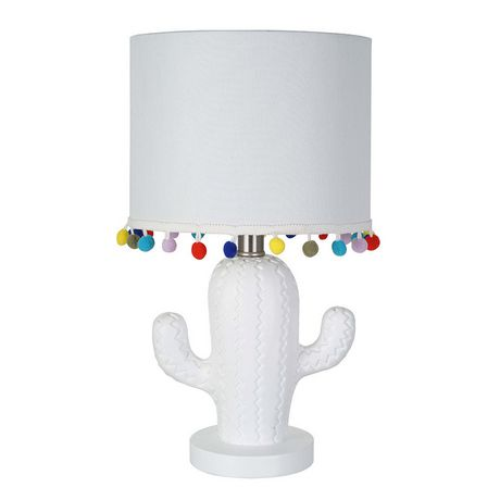 hometrends White Cactus Table Lamp with White Shade and Multi-Color Pompoms - image 2 of 2