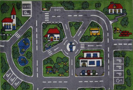 Fun Rugs Rectangle Multi-Colored Streets Nylon Kids Rug - image 1 of 2