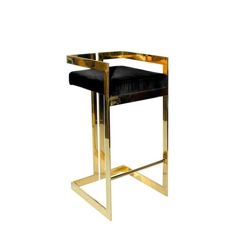 Plata Décor Import Inc Harvey Stool in Black with Gold - image 1 of 1