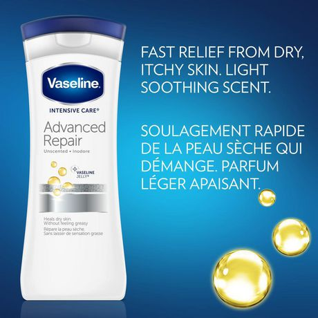 Vaseline Intensive Care Body Lotion for sensitive and dry skin Advanced Repair unscented, moisturizing 600 ml - image 3 of 6