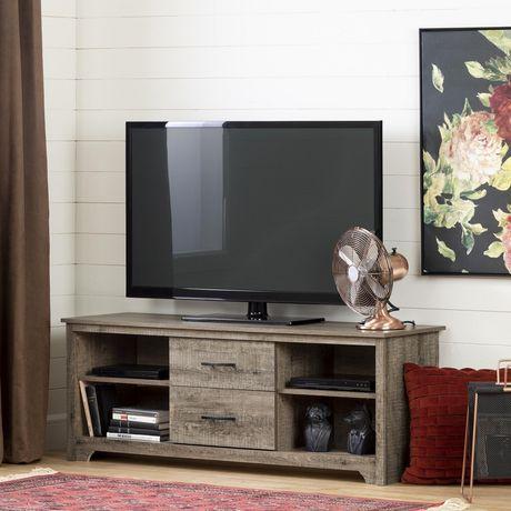 Fusion Meuble Tv Avec Tiroirs Pour Tele Jusqu A 60 De Meubles South Shore