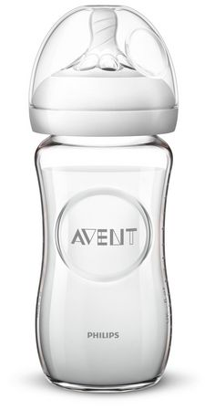 PHILIPS Avent - Natural Glass Baby Bottle 8oz/240mlSlow Flow nipple1m+ - image 1 of 1