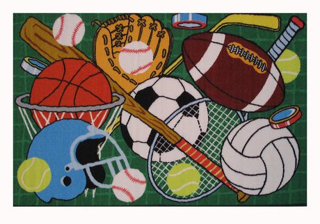 Fun Rugs Rectangle Multi-Colored Let's Play-Green Nylon Kids Rug - image 1 of 2