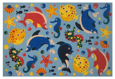 Tapis rectangle amusant pour enfant Aquarium multicolore nylon - image 1 de 2