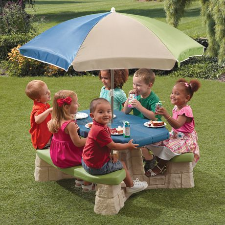 Step2 naturally playful picnic table with umbrella playset - Children s picnic table with umbrella ...