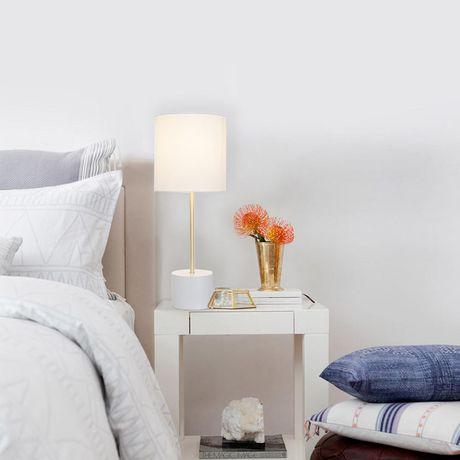 Lampe de table hometrends avec base en bloc blanc et accents en laito - image 1 de 2