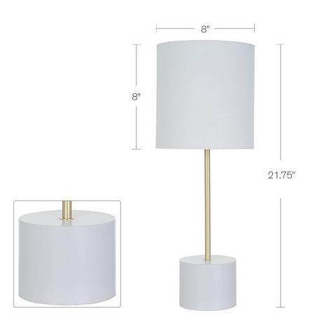 Lampe de table hometrends avec base en bloc blanc et accents en laito - image 2 de 2