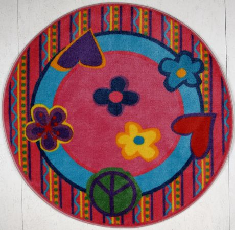 Fun Rugs Round Multi-Colored Peace Out Kids Rug - image 1 of 2