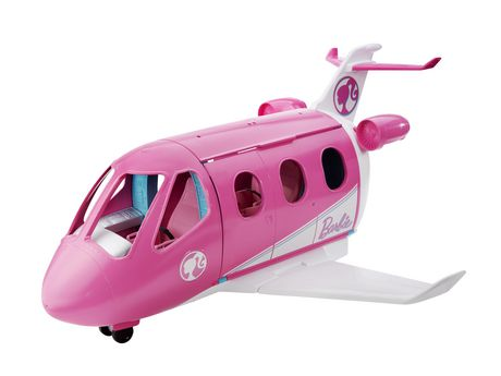 Plastic pink and white toy airplane with Barbie and her accessories inside