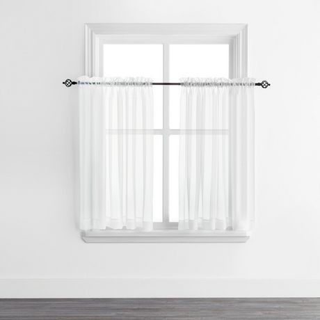 Mainstays Sheer Voile Rod Pocket Curtain Panels Walmart